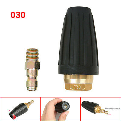 "1/4"" High Pressure Washer Rotating Turbo Nozzle Spray Tip 3 GPM 3600PSI Black"
