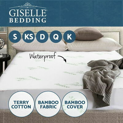 """Bamboo Terry Cotton Fitted Mattress Pad Waterproof Cover Stretch Up To 16"""" Deep"""
