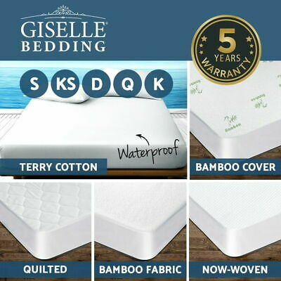 """Bamboo Terry Fitted Mattress Pad Cover Protector Deep Pocket Stretches Up To 16"""""""