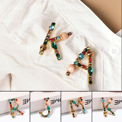 Wedding Bride Jewelry Gift Luxury Letter Brooch Pin Pearl Crystal Colorful