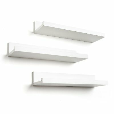 High Quality Set of 3 14 Inch Floating Wall Shelves Photo Frame Rack by White