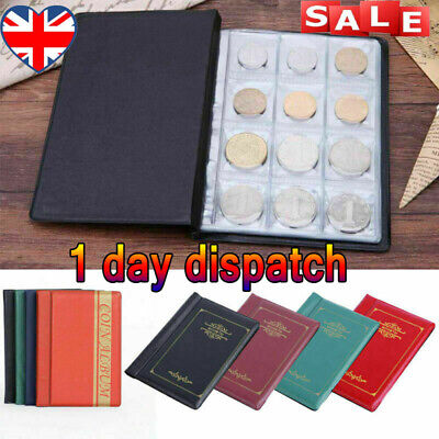 UK✔ 120 Album Coin Penny Storage Book Case Folder Holder Collection Collecting