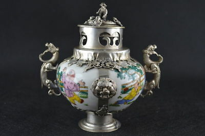 Collectibles Exquisite Chinese HANDWORK PORCELAIN PAINTING BOYS INCENSE BURNER