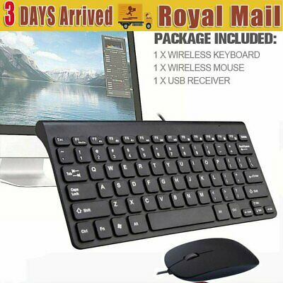 USB Wired Keyboard Set Ultra Slim & Mouse Quiet QWERTY UK Layout for PC Black