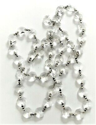 "3 Ft ""Asfour 30% Lead Crystal"" Silver Chandelier~Lamp Prism Swag Chains~New!"