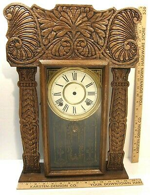 Antique Pressed Oak Gingerbread Mantel Shelf Clock Case & Face Only No Movement