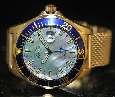 Men's Swiss Invicta Pro Diver GMT Blue MOP Dial Goldtone Mesh Steel Watch 6356