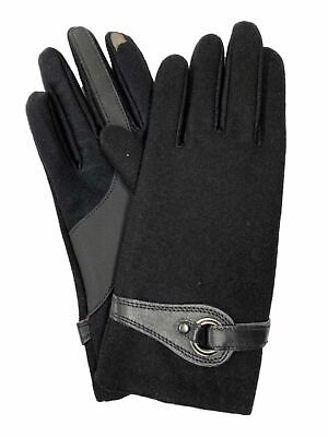 Isotoner Smart Touch Womens Black Wool Blend Tech & Text Gloves Smartouch