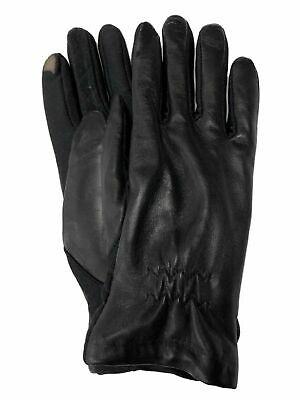 Isotoner Smart Touch Womens Black Leather Touchscreen Tech & Text Gloves