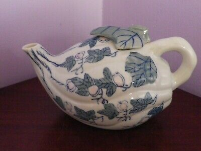 Unusual Shaped Vintage Chinese Porcelain Fruit & Leaves Design Teapot 20 Cms Lon