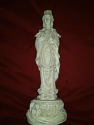 Vintage White Porcelain Standing KUAN-YIN with Vase Made 01-07-1952.