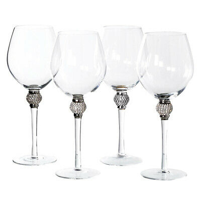 Set of 4 Silver Diamante Ball Crystal Red Wine Glasses