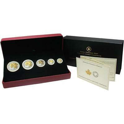 2014 .9999 Fine Silver Fractional Maple Leaf 5x Proof Coin Set with Gold Details