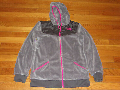 The North Face Full Zip Gray Hooded Fleece Jacket Girls Xl 18 Excellent Cond.