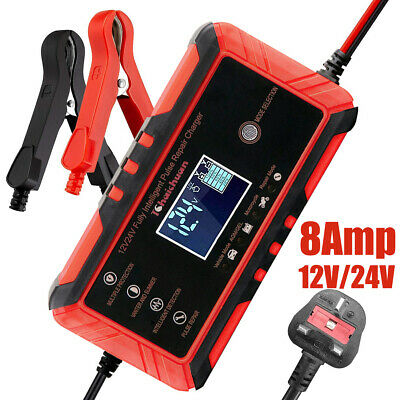 8 Amp 12V 24V Intelligent Pulse Repair Car Battery Charger Jump Starter AGM/GEL
