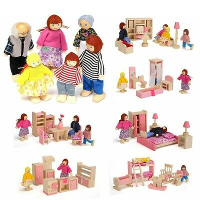 Mini Kids Children Wooden Furniture Dolls Toy House Family Miniature Room Set UK