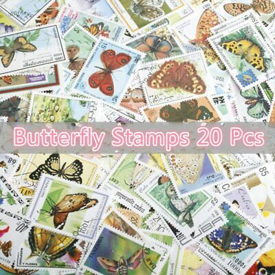 20Pcs/Lot World Beautiful Butterfly Stamps All Different From Many Countries NO