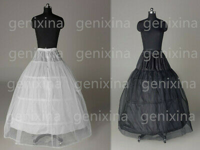 A-line White 3-Hoop 1 layer Wedding Bridal Petticoat Crinoline Underskirt Dress