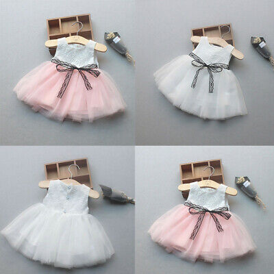 Newborn Baby Girls Button Bownknot Lace Net Yarn Princess TutuDress Clothes