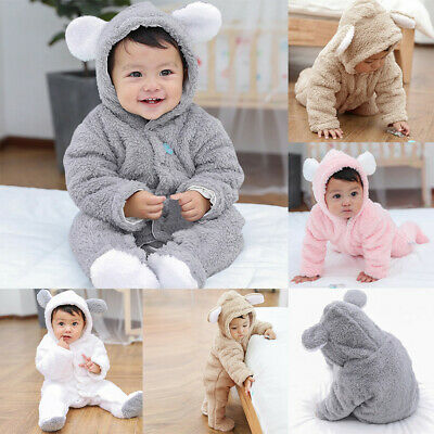 Infant Baby Girls Boys Long Sleeve Fluffy Hooded Jumpsuit Romper Coat Clothes BC