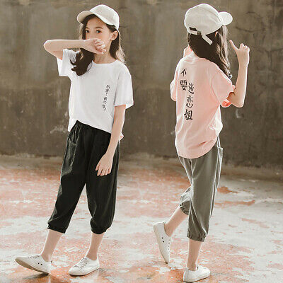 Teen Kids Girls Chinese Japanes Text T Shirt Short Sleeve Tops Pants Outfits Set