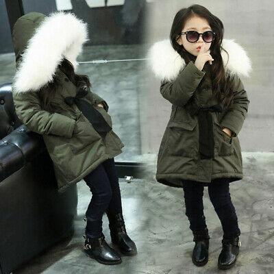 Baby Girls Fur Hooded Tops Jacket Padded Coat Kids Long Thick Warm Jacket Parkas