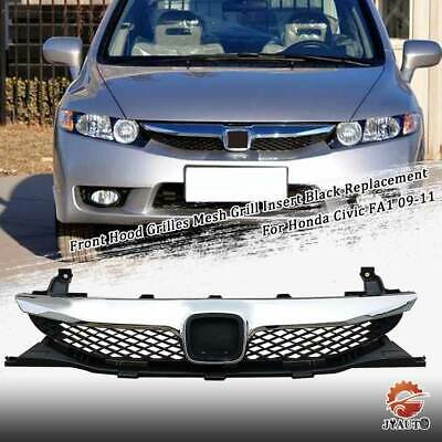 Front Hood Grilles Mesh Grill Insert Black Replacement For Honda Civic FA1 09-11