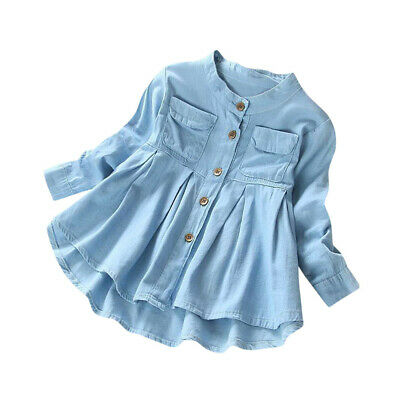 Kids Baby Girl/'s Long Sleeve Blouse Denim Ruched T-Shirt Tops Shirts Clothes KW
