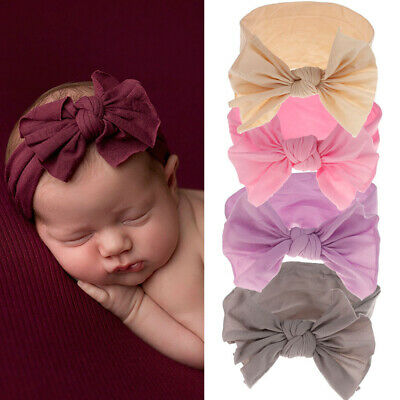 Stretch Turban Toddler   Baby Girls  Bow Hairband  Nylon Headband  Bowknot