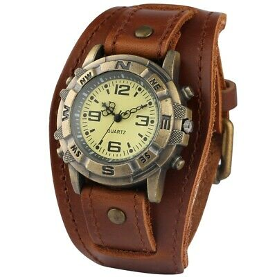 Mens Watches Classic Punk Quartz Watch Bronze Watches Durable Wide Leather Band
