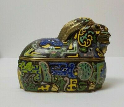 Novelty Cloisonne Enamel on Brass Stylized Ram Box