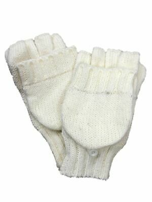 Fownes Womens Soft Ivory Knit Fingerless Convertible Flip Top Gloves Mittens