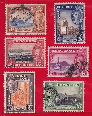 "1941 Hong Kong China Stamps ""Kgvi Centenary Of British Occuopation"" Sg£33 Used"