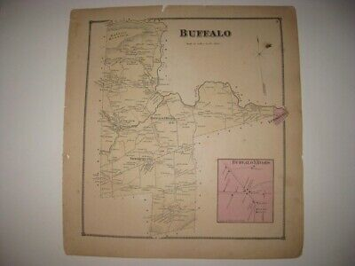 Antique 1868 Buffalo Township Lewisburg Union County Pennsylvania Handcolor Map
