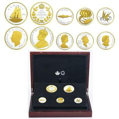 2018 Canada Legacy of Dime .9999 Silver Gold-plated 5-Coin Set Special Edition