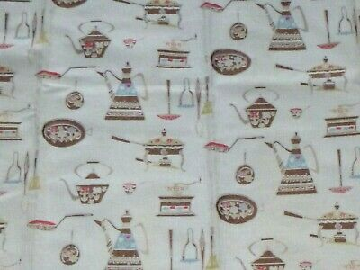 "Pr Vtg Cotton Cafe Curtains Kitchen Print Scalloped Top Texture 33""W x29"" L"