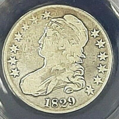 1829 Capped Bust Half Dollar Anacs F12 Details!