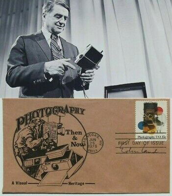 Polaroid Founder Inventor Edwin Land Signed Autograph First Day Cover FDC