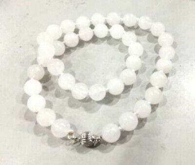 Genuine natural 8mm White Jade Round Gemstone Beads Necklace 18 inches AAA