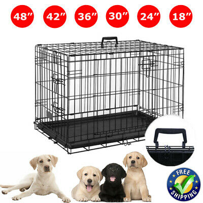 Metal Pet Cages Dog Cat Puppy Training Folding Crate Animal Transport With Tray