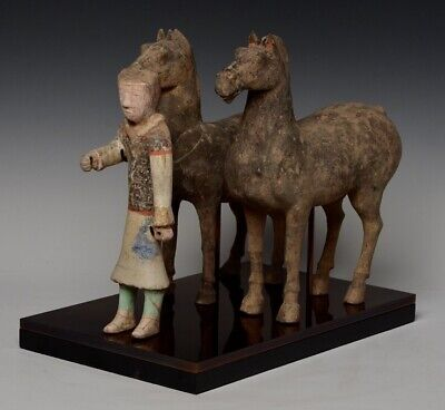 Han Dynasty, A Set of Antique Chinese Painted Pottery Horses and Rider