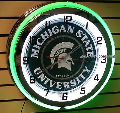 """18"""" MICHIGAN STATE University Spartans Sign Double Neon Clock Sparty"""