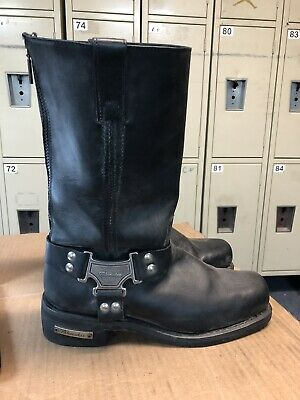 mens black MILWAUKEE MB410 motorcycle boots classic harness leather biker 10 D M