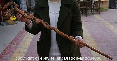 """38"""" Antique Old China Boxwood Carving Dragon Head Crutch Walking Stick Crozier S"""
