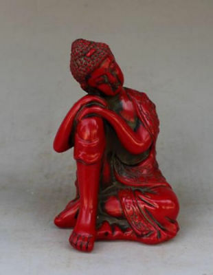 Collectible China Handwork Old Red Resin Carve Goodness Buddha Sleep Statue