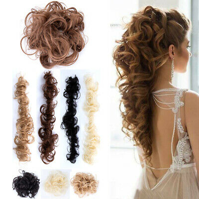 Lady Curly Messy Bun Hair Piece Scrunchie Ponytail Long Hair Wrap Updo Extension