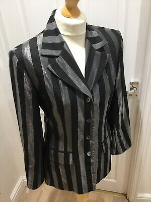 Wallis Silver And Black Striped Single Breasted Suit Jacket Blazer Size 10