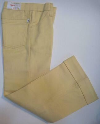FARAH Vintage Boys Pants Sz 10 SLIM W23 YELLOW Denim Flare FaraPress Flex-Knee