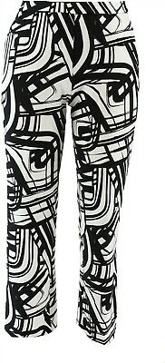 Dennis Basso Printed Luxe Crepe Wide-Leg Pull-On Pants Black M NEW A349312