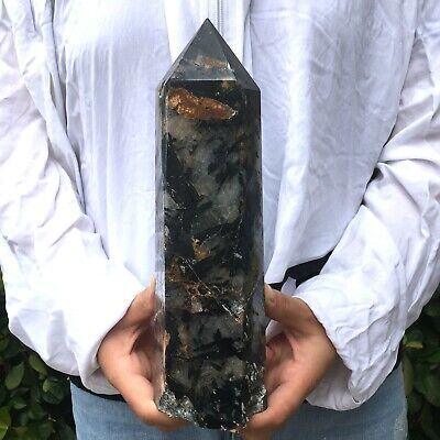 5.4LB Natural Black Tourmaline Wand Crystal Quartz Obelisk Point Healing YMZQ57